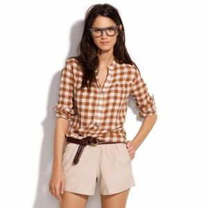 Madewell Checked Boiler Orange and White Shirt